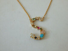 """LETTER """"S"""" NECKLACE ANTHROPOLOGIE DELICATE BEAD RHINESTONE GOLD TONE TREND $58"""