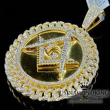 Mens Genuine Diamond Masonic Pendant 10K Yellow Gold Finish Round Miami Cuban
