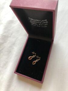 Pure Gold 9ct diamond dangle drop earrings
