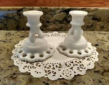 1 PAIR WESTMORELAND MILK GLASS DORIC LACE (RETICULATED) CANDLESTICK HOLDERS