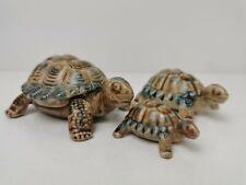 More details for vintage wade porcelain turtles tortoises family of 3 trinket box blue and brown