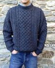 Uomo CAVO IRLANDESE ARAN PESCATORE Maglione Irlanda 100% PURO lana girocollo