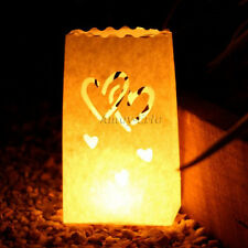 10 X Double Heart Luminaria Candle Bag Paper Lantern for Xmas BBQ Party Wedding