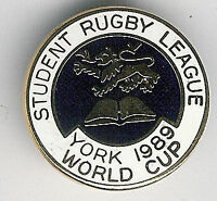 STUDENT WORLD CUP YORK 1989 RUGBY LEAGUE ENAMEL PIN BADGE CL 25mm