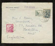 SPAIN 1950 PALACE HOTEL MADRID...CADIZ TPO POSTMARK...AIR to MAIDSTONE GB