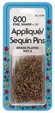 "Collins Applique Sequin Pins - Brass,Size 8 (1/2"") - 800 Ct. Extra-fine shaft"