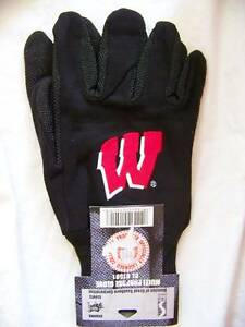 Wisconsin Badgers Logo Work Gloves Black Adult Mens One Size Garden Grip Palm