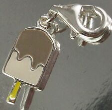 STERLING SILVER 925 CLIP ON two-dimensional ICE CREAM CHARM PENDANT