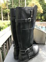 Women's Tall Black Riding Boots Faux Leather Size 9.5 G by Guess Harson Zip Up