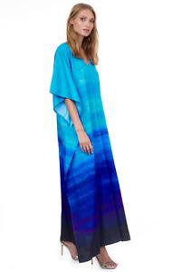 GOTTEX Maxi Dress-Swimwear Cover Up, Blue Ombre Kaftan, ONE SIZE, NWT, $138