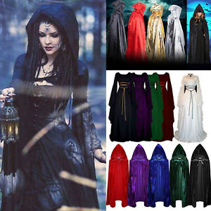 Women Medieval Dress Renaissance Robe Cape Cloak Halloween Party Costumes