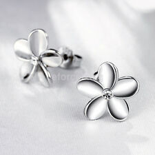 Wholesale KIDS GIRLS LADIES White Gold Five-Leaf Flower STUDS EARRINGS GIFT New