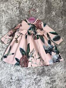 Baby Girl Ted Baker RARE Hummingbird Jewel Print Floral Dress 3-6 Months VGC 🎀