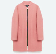 Zara Basic Women's Jacket Size XS Pink Wool Blend Zip Up Coat NWT