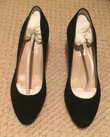 NIB L.K. Bennett  SERSHA Pump Block Heel Shoe Black Suede 36.5 - 6.5 US NEW