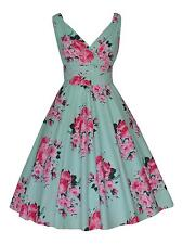 Mint Green Pink Floral Vintage Cotton Party Prom Rockabilly Bridesmaid Dress 14