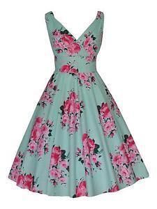 Mint Green Floral Vintage 100% Cotton Party Prom Tea Dress 20