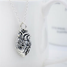 Anatomical Heart 925 Sterling Silver Necklace Heart Jewelry Fashion Jewelry Gift