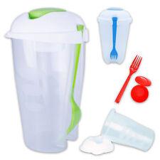 3x Recipiente de ensalda SET incl. Tenedor & Dressingbox 3 Plástico