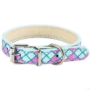 Glittering Argyle Leather Dog Collar