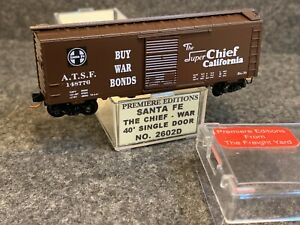 N Scale Premiere Editions Santa Fe The Chief 40' Box Car -Buy War Bonds 2602D