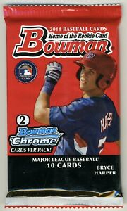 🔥2011 Bowman Baseball Retail SEALED Pack 2-Chrome Trout? Harper? RC Rookies