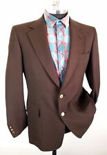 VTG 60s 70s Society Polyester Blazer Gold Buttons Mid Century Brown Sz 42L Disco