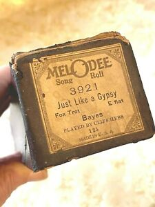 """MelOdee Player Piano Roll  """"Just Like A Gypsy"""" No.3921. Good Condition!"""