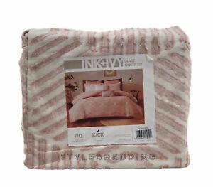 INK+IVY Ellipse Cotton KING Duvet Cover & Shams Set Blush Pink NEW
