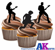 Precuts Rock Guitar Player siluetas Comestibles Cupcakes toppers decorations 12