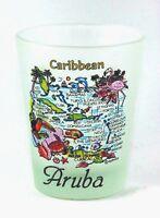 ARUBA CARIBBEAN MAP FROSTED SHOT GLASS LPCO