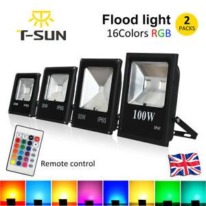 2Packs 16 Color LED Floodlight RGB Color Changing Outdoor Garden Yard Spotlights