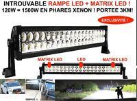 INCROYABLE PORTEE 3KM! BARRE RAMPE PHARE LED +MATRIX LED 120W SPECIAL CAMION 24V