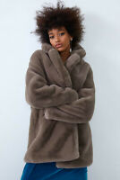 ZARA SOLD OUT FAUX FUR COAT TAUPE BROWN GREY REALLY SOFT CONFY  SIZE L 1255/205