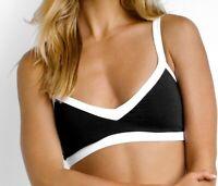 Seafolly Womens Block Bralette Bikini Top Swimwear Black/White Size US 4/AU 8