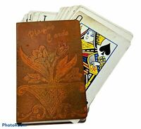 Vintage Brass Metal Etched Floral Flower Old Playing Game Cards Deck Holder Case
