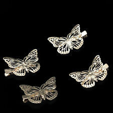 Womens Gold Tone Butterfly Small Hair Clips Pins Wedding Bridal Accessories