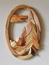 Oval Mountain Scene Intarsia Wood Art - Wood Decor Wall Hanging - NEW