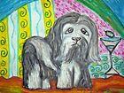 "Havanese 11x14 Dog Art Giclee Print Signed by Artist KSams ""Martini Modern"""