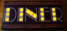 Retro Vintage Style Light Up DINER Canvas Sign Restaurant Kitchen Home Decor NEW
