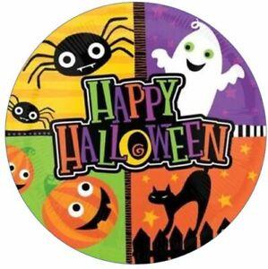 Happy Halloween Edible Cake Topper Quarters Pumpkin Cat Ghost Spider