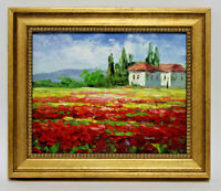 Red Poppies Field Landscape  8 x 10 Art Oil Painting on Canvas w/Custom Frame