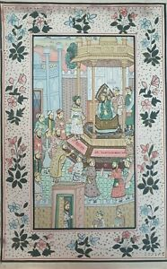 Hand painted Indian illustrated fabric laid on 40 x 59 cm card. I13Y281.