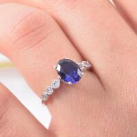 1.6ct Oval Cut Blue Sapphire Engagement Ring Diamond Accents 14k White Gold Over