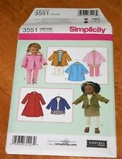 "Simplicity Pattern #3551 Doll Coats 18"" Size - 7 Styles Sewing Version - Uncut"