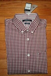 NWT Mens Tommy Hilfiger Slim Fit Stretch Poplin Buttondown Shirt Wine Check *2F