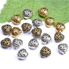 10Pcs Tibetan Silver Heart Shaped Hollow Spacer Beads For Jewellry G23