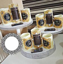 Home Made Arabic Calligraphy  LED Candle for Home Decor & Gift 3 in 1-Silver