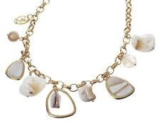 £100 Gold Cream Brown White Mother Of Pearl Shell Glass Charm Pendant Necklace