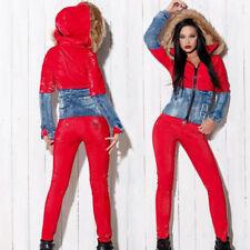 FOGGI Damen 2 Teiler Jeans mit Jacke Blaser  Komplett 34 Blau-Rosa